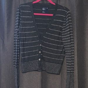 Grey cardigan with silver stripes
